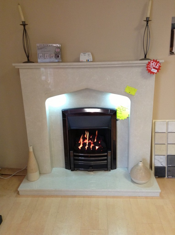Verdena marble fireplace with down lighters  Was £749