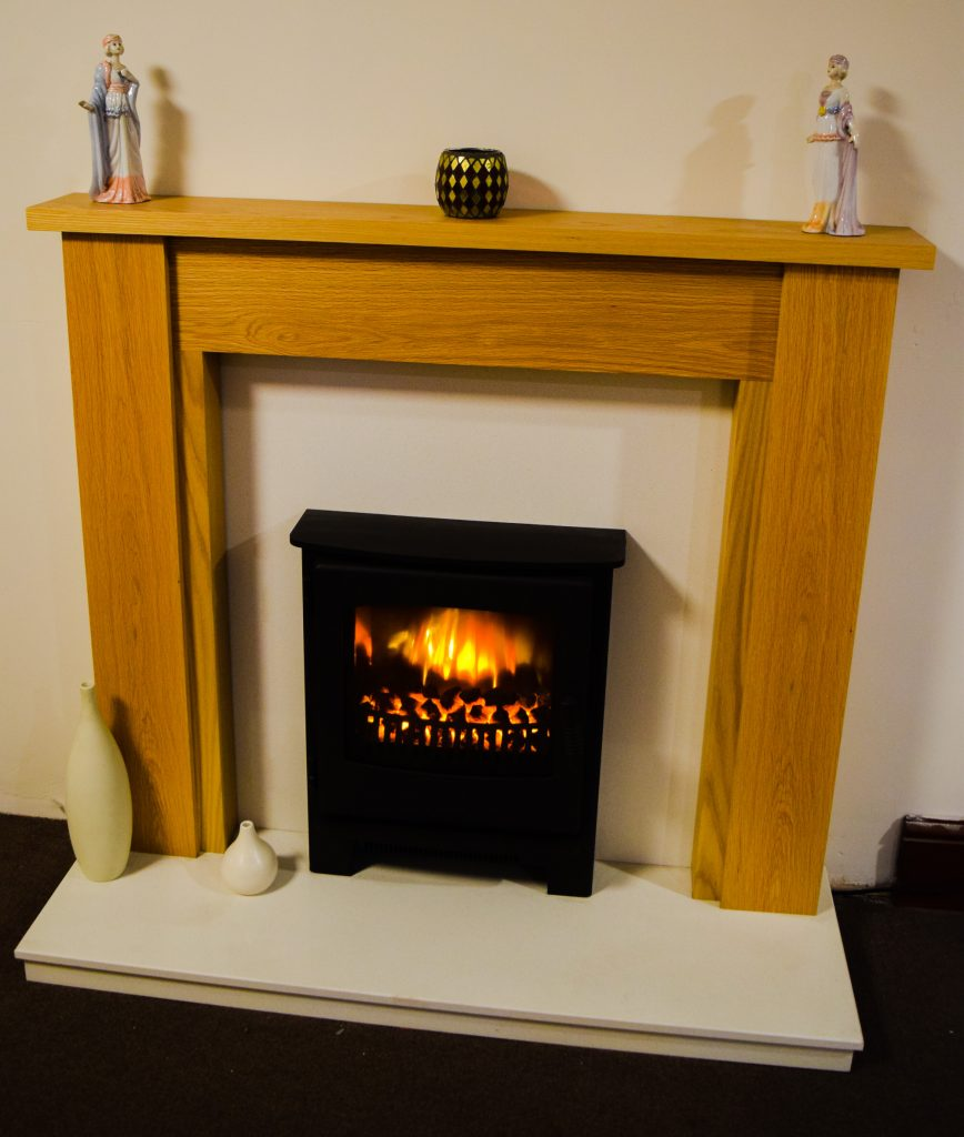 "48"" Oak Marble Surround and Marble Set ONLY - £599 - Devotion Inset Electric Stove £545"